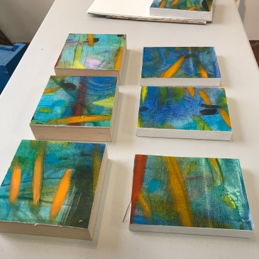 Oils on canvas, mounted on birchwood panels. in inches: 4x4, 5x7, and 6x6